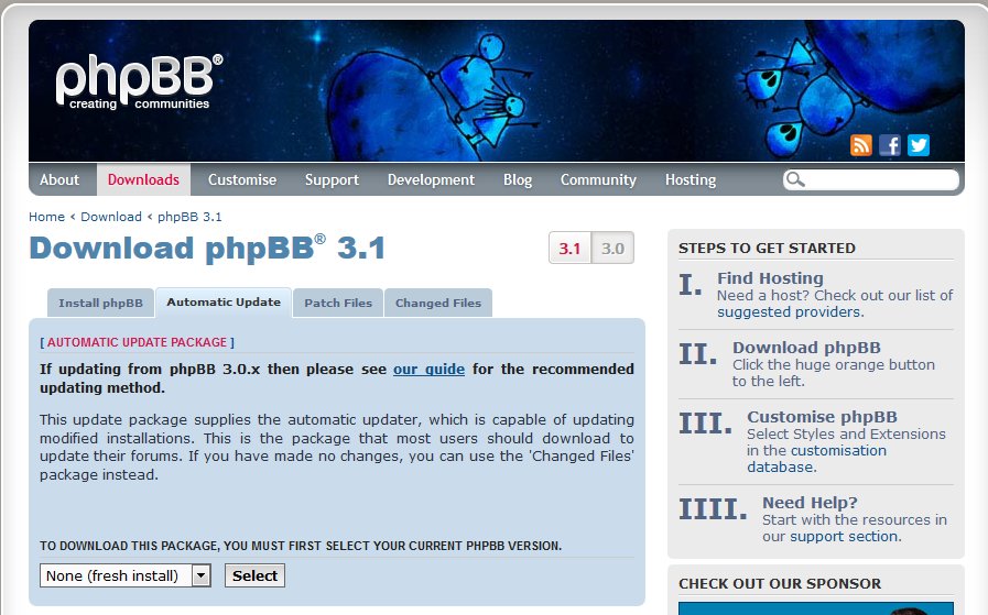 phpBB 官网 Automatic Update